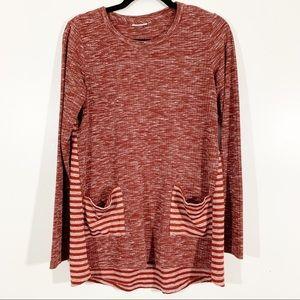 LOGO S Orange Marl Stripe Long Sleeve Pocket Tunic